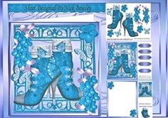 Pretty bright blue vintage lace boot  with orange flowers 8x8 mini kit on…