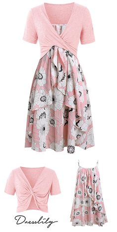 f2d4d9da6c Plus Size Floral Print Layered Cami Dress With Criss Cross Crop Top