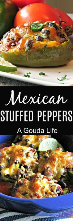 Mexican Stuffed Peppers ~ seasoned ground beef, rice and black beans topped with cheese and baked in colorful bell peppers.
