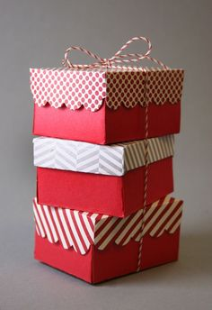 why wrap? Make the boxes out of beautiful paper and tie with a simple string:
