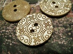 Wooden Buttons - Fantastic Engraving Bohemia Flowery Dots Concave Original Wooden Buttons. 1.38 inch. 10 pcs by Lyanwood, $7.00