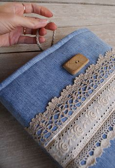Apple iPad Sleeve Case (padded)- denim- handmade wooden button by SandraStJu, via Flickr