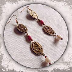 Ohrringe aus Metall in bronze und gold mit Prägung im Vintagestil ---- Metal earrings in bronze and gold embossed vintage style ---- Handmade