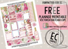 Free Printable Rose All Day Planner Stickers from Victoria Thatcher Happy Planner Kit, To Do Planner, Free Planner, Blog Planner, Planner Ideas, 2015 Planner, Passion Planner, Printable Planner Stickers, Free Printables