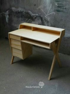 """Desk made out of what looks like 3/4"""" plywood.:"""