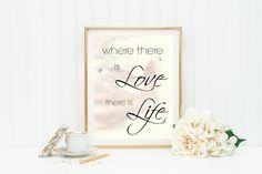 """Printable Art, """"Where there is love"""", Gandhi love quote, digital download, printable quote decor, typography print by GraceandJules on Etsy"""