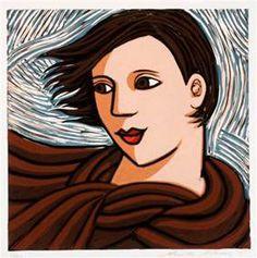 Anita Klein, Windy Day - linocut