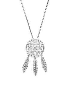 Diamond Dreamcatcher Pendant Necklace in 14K White Gold, 1.0 ct. t.w.