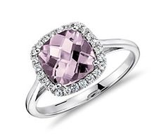 beautiful cushion pink ring with halo