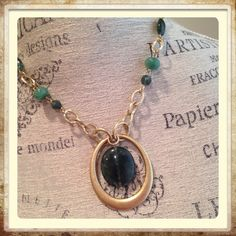 💟 Lia Sophia Natural Stone Necklace Lia Sophia necklace in brushed goldtone with dark green agate. Large main stone in pendant and small beads interspersed in chain. Approx 22 in w/extender.🔶No holds.🔶offers considered Lia Sophia  Jewelry