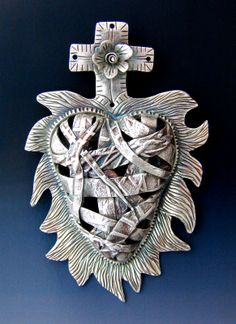 My Milagro Heart made with pure silver (pmc3) ©2010 Lorena Angulo