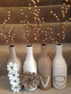 Next Post Previous Post DIY 'Love' wine bottle set. Twine and yarn wrapped wine bottles for a great rustic set. Wine Bottle Art, Wine Bottle Crafts, Diy Bottle, Starbucks Glass Bottle Crafts, Starbucks Bottles, Cute Crafts, Diy And Crafts, Twine Crafts, Decor Crafts
