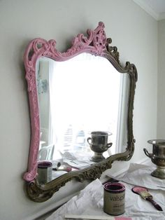 Its pink , its frenchy, its finished~ and its fabulous! I had been searching for an oversized ornate mirror to hang over the bombe ches. Ornate Mirror, Pink Mirror, Mirror Mirror, Mirror Ideas, Furniture Makeover, Diy Furniture, Urban Furniture, White Furniture, Best Interior Design Websites