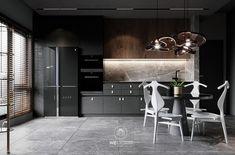 Shaping Slick Dark Interiors With Black & Grey Decor Sofa Design, Furniture Design, Gray Interior, Interior Design, Black Dining Set, One Wall Kitchen, Dark Living Rooms, Dark Grey Walls, Glass Front Cabinets