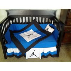 michael jordan crib bedding sets | MICHAEL JORDAN Crib Bedding Set Royal Blue White and Black