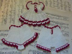 Cute crocheted dress and pants potholders