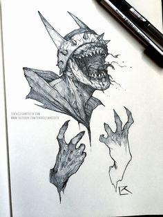 ArtStation - Batman Who Laughs, Richard Luong Creepy Drawings, Dark Art Drawings, Art Drawings Sketches, Batman Poster, Batman Artwork, Arte Horror, Horror Art, Horror Drawing, Arte Obscura