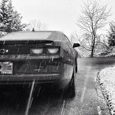 As the snow's falling, remember that a new beginning is just weeks away. #Camaro #Seasons