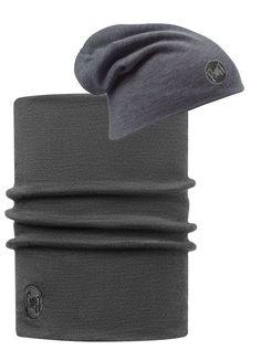 Zestaw: Komin Neckwarmer Thermal Wool Buff Grey + Buff Czapka Termiczna z Wełny Merino dwuwarstwowa Grey