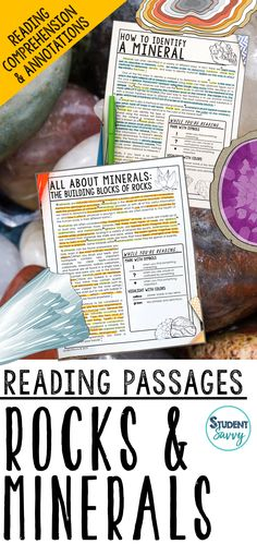 Rocks and Minerals Reading Passages - Questions - Annotations Science Lesson Plans, Science Resources, Reading Resources, Science Lessons, Teaching Science, Life Science, Teaching Ideas, 5th Grade Activities, 6th Grade Science