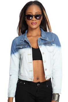Your year round staple is here! Featuring stitched detailing, pointed collar, breast pockets, long sleeves with button cuff followed by a button up closure.  Incorporate this denim jacket into just about any outfit of your choice for a trendy look. 100% Cotton