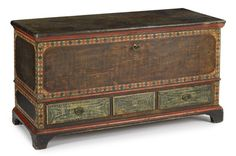 "Sold $2,200 Lebanon County, Pennsylvania painted pine dower chest, ca. 1810, with an ochre sponge decorated ground with diamond surround, above three green sponged drawers supported by bracket feet, 28 1/2'' h., 51'' w.  Condition  Original hardware. Lacking center drawer brass. Repaired break to edge of one drawer. Repaired breaks and losses to lid molding. One rear foot ended out 1""."