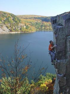 Climbing at Devil's Lake State Park, Baraboo, Wisconsin    (a paradise for rock climbers and for bouldering - but no climbing for me - the scenery is my thing!)