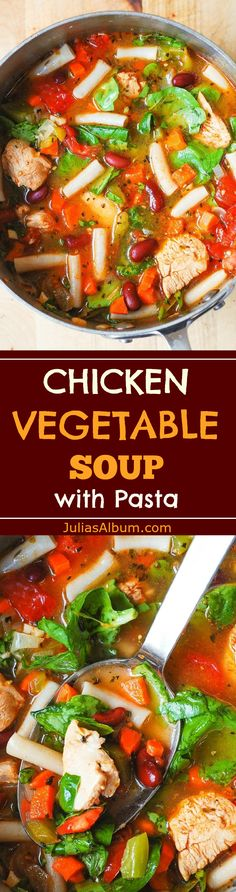 Chicken Vegetable Soup with Pasta: gluten free, healthy, delicious, easy-to-make! Spinach, bell pepper, carrots, tomatoes, and beans. #Thanksgiving #Fall #Autumn #Winter comfort food