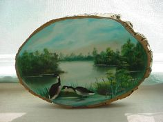 Vtg Canadian Geese Scene hand painted Wood Slice w Bark 6 by 9 inch by Ray Bode Seller florasgarden on ebay