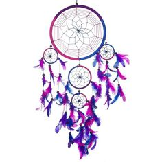 """Dream Catcher Handmade Traditional Royal Blue, Pink Purple 8.5""""... ($25) ❤ liked on Polyvore featuring filler and other"""