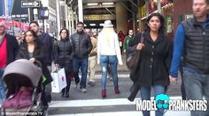 A video shows passers-by failed to notice a model who walked around the bustling streets of Hong Kong naked from the waist down Gold Backpacks, Painted Jeans, Blonde Model, Media Images, New York Street, Denim Skinny Jeans, Hottest Models, Body Painting, Hong Kong