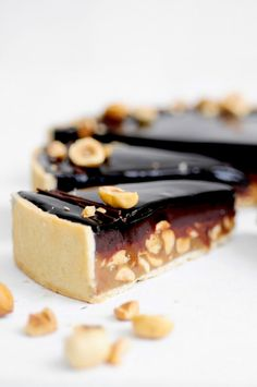 caramel chocolate tart with hazelnuts