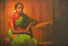 Tamil women with bamboo basket & pad - Painting by S. Elayaraja (www.elayarajaartgallery.com)