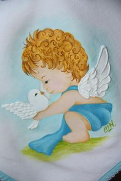 Pintura em tecido. Fralda para menino. Pintura de Célia Lopes