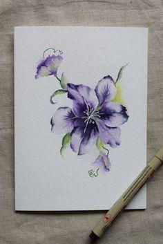 Clematis viola fiore acquerello dipinto carta stampa