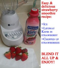 Use Lifeway Kefir to make a deliciously simple strawberry smoothie!!