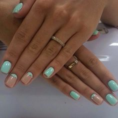 Airy nails, Fashionable nails 2015, Half moon nails with shellac, Nails in pastel tones, Spring nails 2016, Square nails, Turquoise nails, Two-color nails