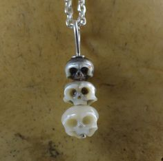 Carved Pearl Skull Necklace  Skull Pendant  by ArloEdgeWalker