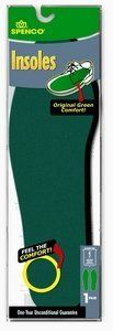 "Insole 40-21202 Slip-In W 7-8 M 6-7 by mfr. Spenco. $7.93. The ""original"" green insole. Years of proven use and high quality, synonymous with the name SPENCO®, our slip-in insoles provide long lasting heel-to-toe comfort. Washable, trim to fit with scissors. Material available in bulk roll for custom cutting."