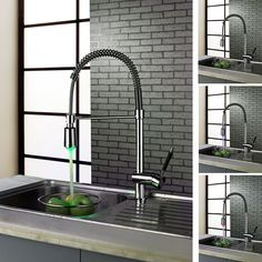 BECOLA Free shipping Pull the water basin mixer Chrome plated cold hot water faucet Kitchen LED three color lamp faucet LH-8085