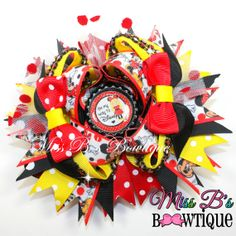 Disney Over the Top Hair Bow On my way to Disney Minnie and Mickey Mouse Inspired Hair Bow www.facebook.com/missbsbowtique05
