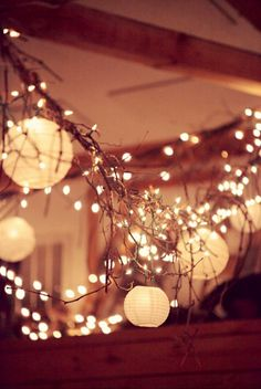 Lights and love. White paper lanterns + white mini party lights (amazon)+wire