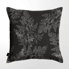 Scatter Cushion (DBL sided print ) - Silver Fern Black Scatter Cushions, Throw Pillows, Silver Fern, Printed Linen, Lead Time, Ferns, Feather, Cotton, Black