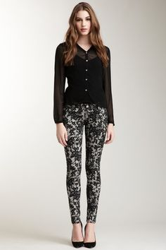 Graphic Print Skinny Jean by Romeo & Juliet Couture