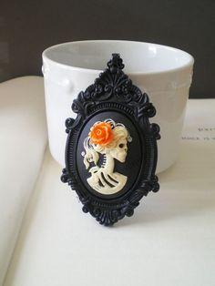 Halloween Skeleton Necklace. Gothic Wedding. Cameo Pendant. Halloween Costume Jewelry. Skull Jewelry. Gifts Under 25.