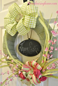 Pretty spring Easter wreath from  theendearinghome.com
