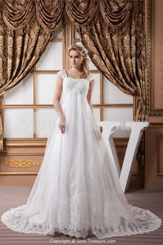 White A-Line Natural Straps Church Court Train A-line Wedding Dress Wholesale Price: US$259.99