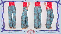 030 Groovin' trousers in charcoal Fynbos Frenzy