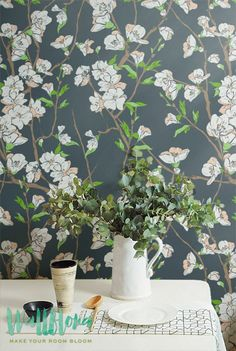 Cherry Tree Wallpaper | Removable Wallpaper - Cherry tree Wallpaper - Cherry Tree Wall Sticker - Cherry Tree Adhesive Wallpaper