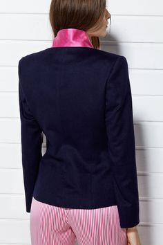#PLAKINGER #SS15 #LOOK VI Navy #blue #blazer #tailored from a #sumptuous virgin #wool and #angora blend, it features a contrasting under collar made from a #vivid #pink #silk #jacquard. #Tailored cut, a covered button, fully lined in pale pink. #Styled with pink #striped #pants cut from a #mikado woven silk. Elasticated waistband and cuffs. #byplakinger #fashion #feminine #style #newbrand #newcollection #springsummer15 #emergingdesigner #collection #brand #menswearinspired #jacket…